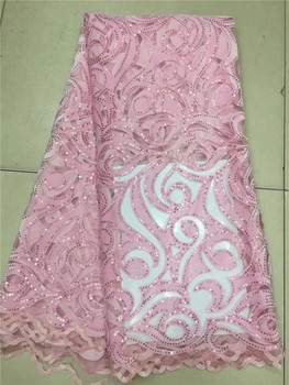 PINK Color Handcut French Velvet Lace Fabric 2018 Embroidered Nigerian French Tulle Mix Velvet Lace Fabric With Stones Hot sale