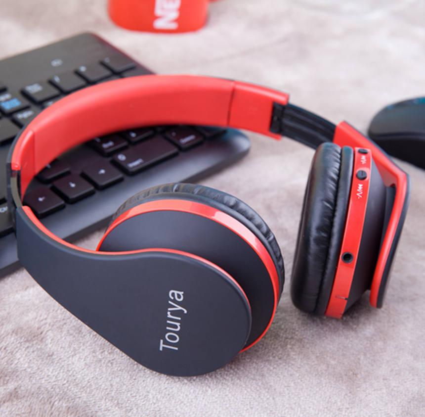 Tourya B2 블루투스 헤드폰 무선 헤드셋 헤드폰 이어폰 마이크 지원 TF 카드 PC 스마트 폰 음악