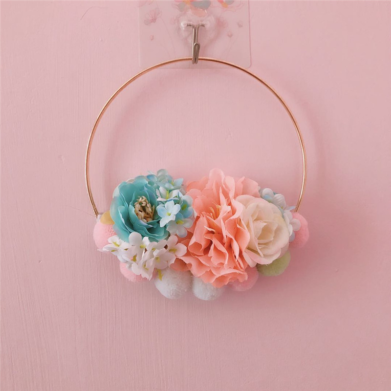 INS Gold Metal Hoop Flower Wreath Garland Wall Hanging Artificial Garland Wedding Home Decoration Simulation Plant Hanging Ring