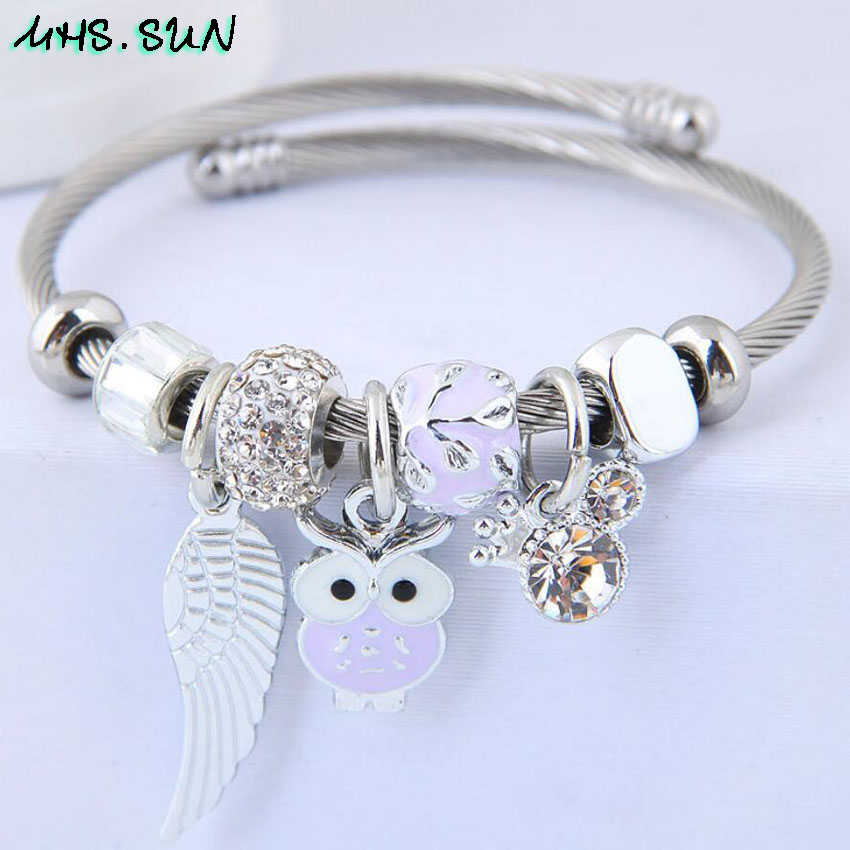 24-1Women Fashion Ocean Style Bangles Bracelets With Owl Bohemia Vintage Girls Bangles Jewelry For Party European Design