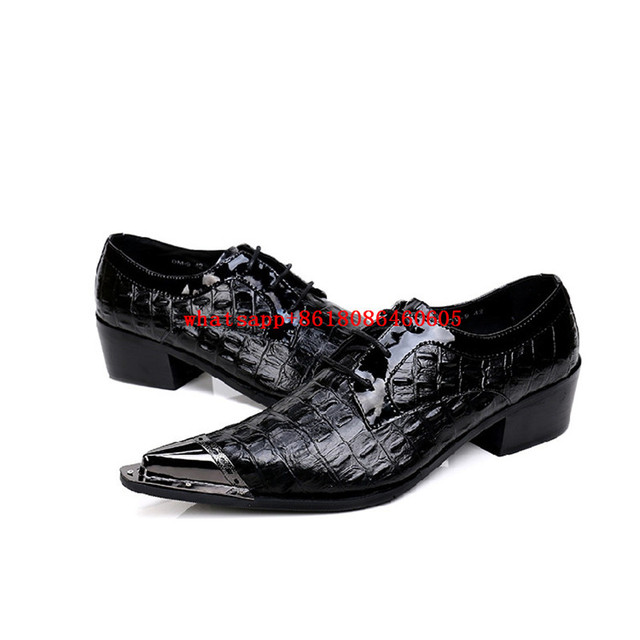 485d6b34a1 Classic Mens Patent Leather Black Shoes Crocodile Skin Iron Pointed Toe Dress  Shoes Wedding Party Dresses Formal Shoes Men