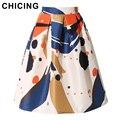 Chicing midi faldas para mujer 2016 de verano de boho acuarela geométrica impreso de alta de la cintura plisada evasé tutú saias femininas a1602011