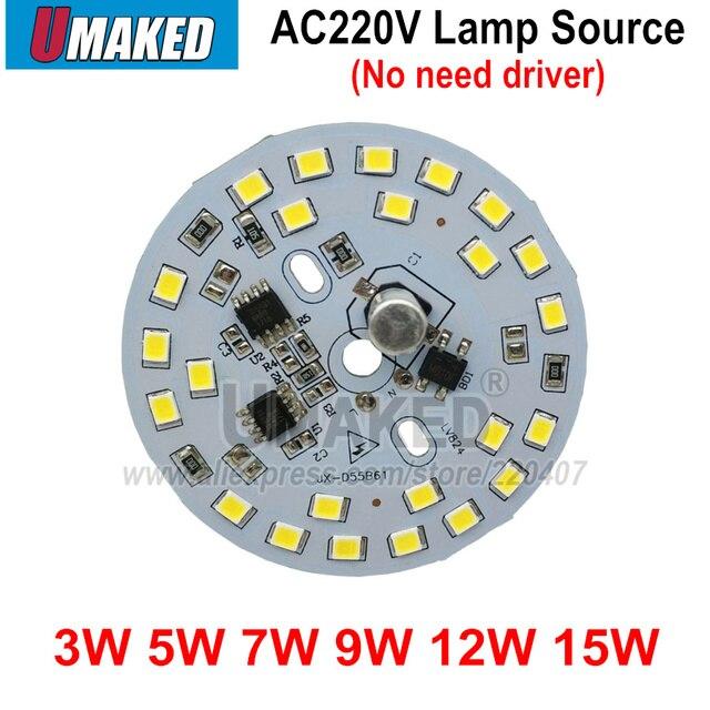 10 pcs ac 220 v led pcb SMD2835 3 w 5 w 7 w 9 w 12 w 15 w integrado ic motorista, contas de Led inteligente IC SMD, Fonte de Luz Led Para downlight