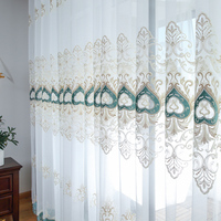 High grade Luxury Embroidered Tulle Curtains White Romantic Sheer Volie Window Screen Curtain for Living Room Door