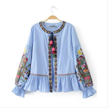 JOYINPARTY 2017 Women's Fashion ethnic style embroidery Stripe long-sleeved shirt blouses casual loose tops shirt femme blusas
