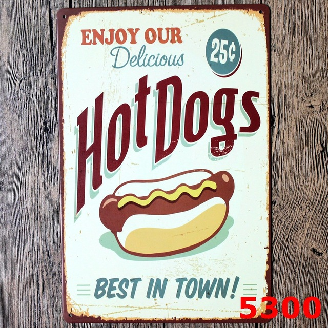 Hot Dog For Vintage Home Decor Tin Sign Coffee Cake Shop Wall Decor Metal  Sign Vintage
