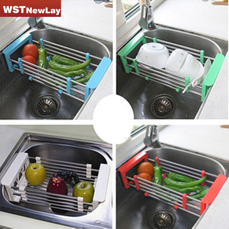 Stainless Steel Scalable Telescopic Kitchen Sink Dish Rack Insert Stand Countertop Storage Organizer Tray Kitchen Shelves <font><b>Basket</b></font>