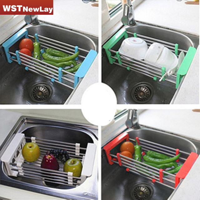 Stainless Steel Scalable Telescopic Kitchen Sink Dish Rack Insert ...