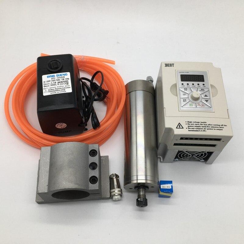 60000 rpm ER11 1.2Kw 1200 W 62mm 220 v refrigerado por agua del Motor del husillo + 1.5kw VFD inversor + 75 kits de bomba de agua W para enrutador de grabado CNC