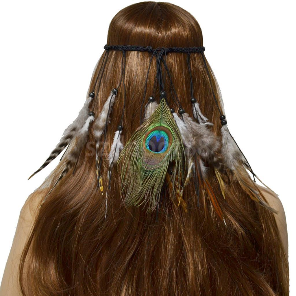 Bohemian Feather Headband Festival Women Peacock Hair Rope Rope Indian Hair Accessories Handmade Ethnic Drop Beads Hair Band