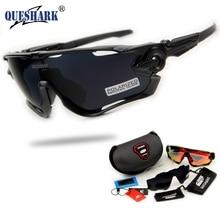 2017 marca new queshark revoed completo polarizado ciclismo gafas de sol gafas de ciclismo para bicicleta 3 lentes de protección uv