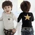 Детская одежда мальчика осень зима хлопка с длинным рукавом карманный звезда печати детская одежда мальчика девушки верхней части рубашки для 2-6Y