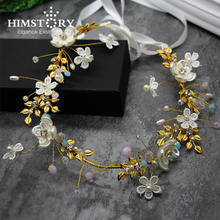 HIMSTORY Handmade Pearl Bridal Gold Wedding Headband Tiaras Shell Flower Lace Hair Accessoy Elegant Headpiece Hairwear