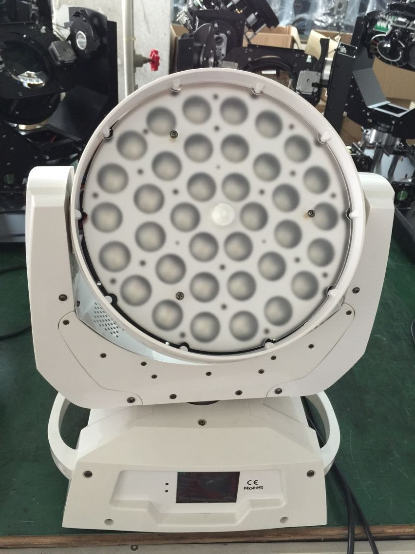 best selling white housing led stage light 36X18w 6 in 1 RGBWY+UV LED zoom moving head wash light with case 10pcs lot cheap stage light 36 15w 5 in 1 led zoom moving head wash light rgbwy color mixing dmx512 lighting control