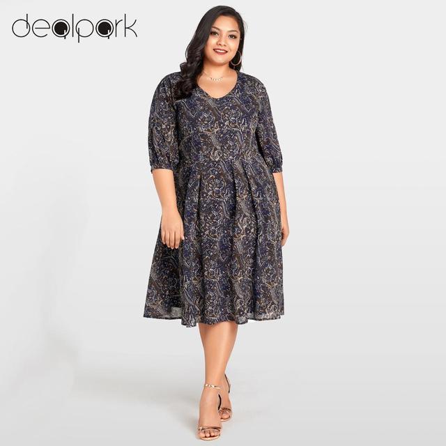 3/4 Sleeve Chiffon Dress