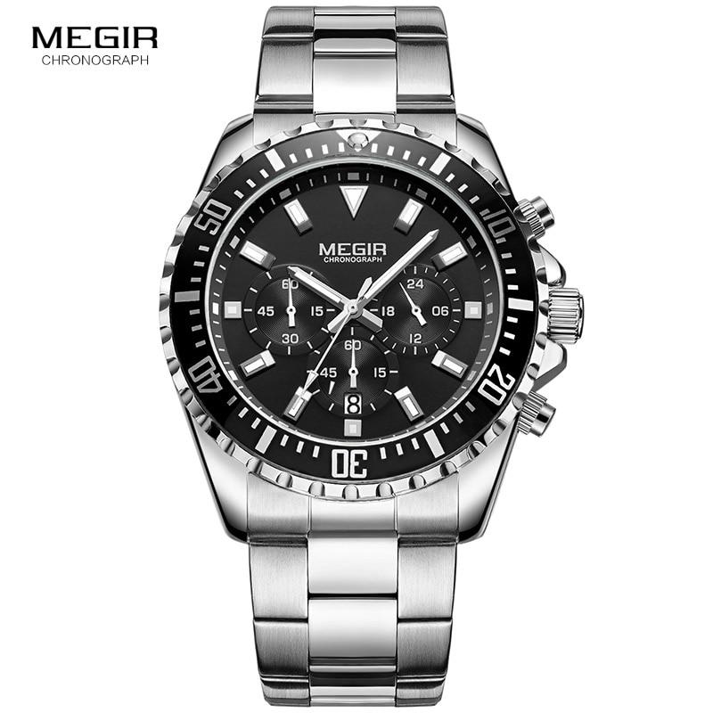 Image 2 - Megir Mans Analogue Chronograph Quartz Watch with Stainless Steel Bracelete Luminous Wristwatch for Boys Calendar 24 Hour 2064GQuartz Watches   -