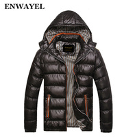 ENWAYEL Autumn Winter Jacket Men Coat Outerwear Fashion Hood Padded Quilted Warm Male Jackets Parka Hooded