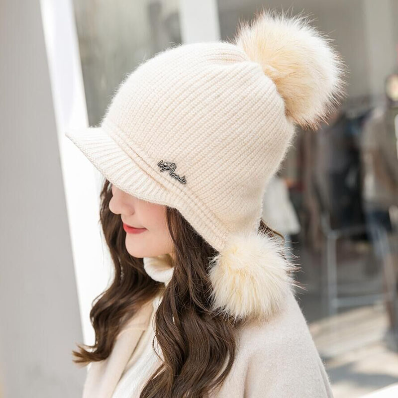 BING YUAN HAO XUAN Hat Female Knitted Hat Casual All-Match Sweet Rabbit Fur Knitted Hat Warm Female Winter Knitting Beanies