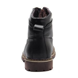 Image 3 - REETENE New Fashion Genuine Leather Men Ankle Boots Warm Winter Snow Warm Mens Boot Lace Up Plush Men Shoes Plus Size 39 50