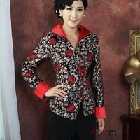 Negro chino señora seda Outwear vintage único un botón Tang traje impresa vacaciones descuento tamaño S a XXXL NJ190