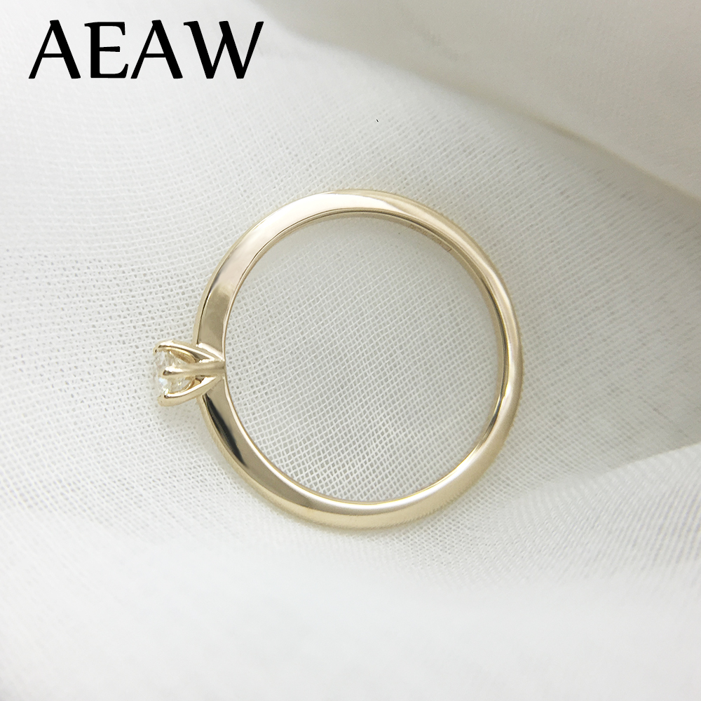 AEAW DF Moissanite Diamond 3mm Engagement Solarite  Ring for Women in 14K Yellow Gold