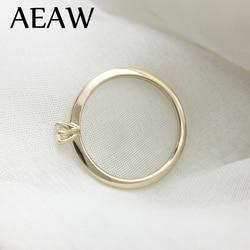 AEAW-bague en diamant de 3mm Moissanite pour femmes, en or jaune 14K