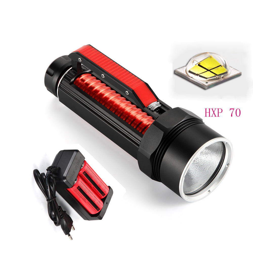 15000 Lumens XHP-70 Led Super waterproof dive Torch light Hunting 100 meter dive Flashlight lamp+ 26650 Battery + Charger lumens