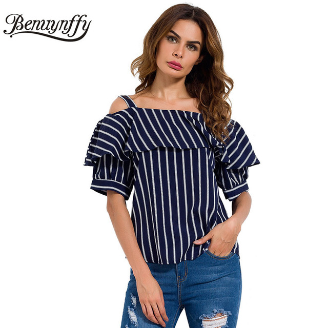c748d0ef2b1 Benuynffy Elegant Dark Blue Striped Women Blouse Shirt Casual Off Shoulder  Strap Top 2018 Ruffle Short