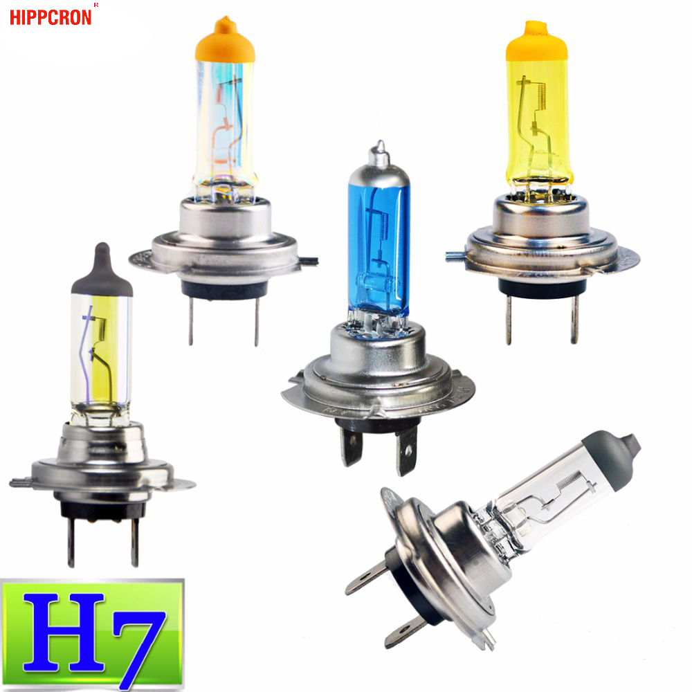 Hippcron H7 Halogen Bulb 12V 55W/100W Clear Super White Yellow Rainbow Blue ION Yellow Quartz Glass Car Headlight Lamp