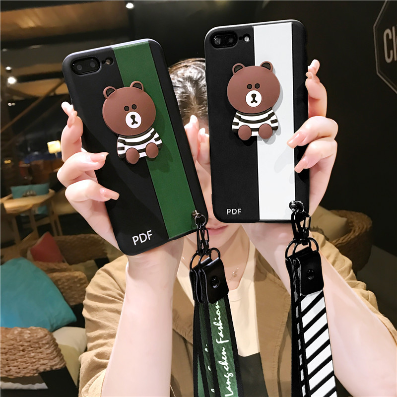 Soft Silicone <font><b>Case</b></font> for Iphone X 6 6s 7 8 Plus Fashion Brand Brown Bear <font><b>Phone</b></font> <font><b>Case</b></font> Cover Back Color Blocking <font><b>Lanyard</b></font> Chain Lady