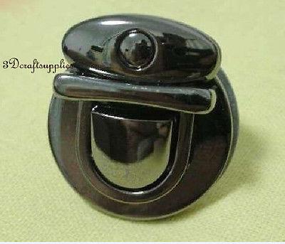 purse lock wallet Thumb latch tongue clasp gunmetal 1 3/8 inch x 1 1/4 inch E58