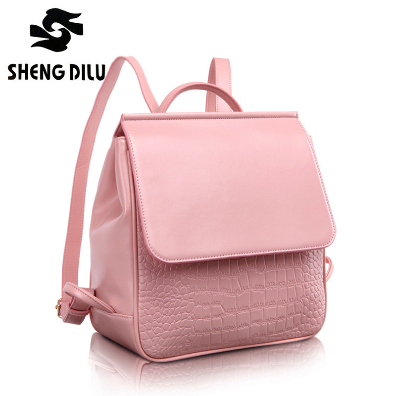 2016 Multifunction Fashion Brand Crocodile Pattern Backpacks Solid Genuine Leather Bags Candy Color Girl's Bag elegant crocodile pattern fashion women backpacks multipurpose solid genuine leather bags