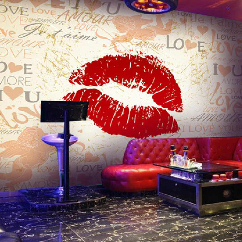 Пользовательские Любой Размер 3D росписи Бар K ТВ фоне стены Бумага Личность Красный Средства ухода за губами стены Бумага росписи европейской моды стены бумага для рисования