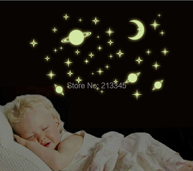 [Fundecor] DIY Universe Stars Glow In The Dark Wall Sticker For Kids Rooms  Baby Children Bedroom Luminous Decal Mural Home Decor