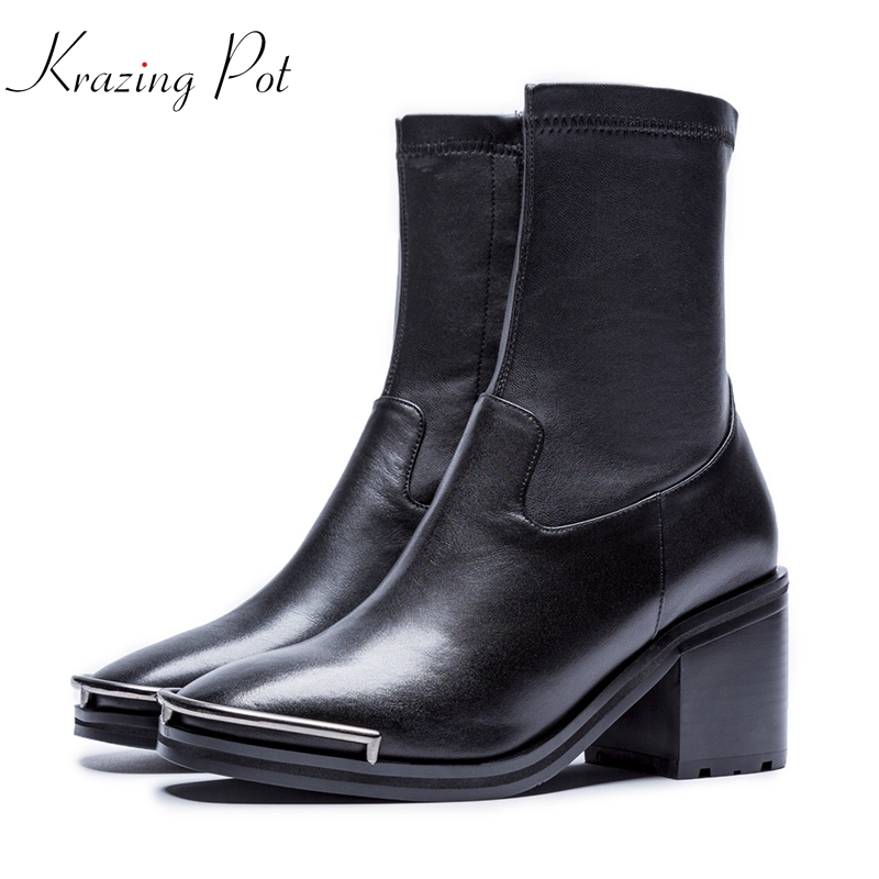 Krazing Pot genuine leather thick high heels fashion boots style keep warm zipper round toe metal