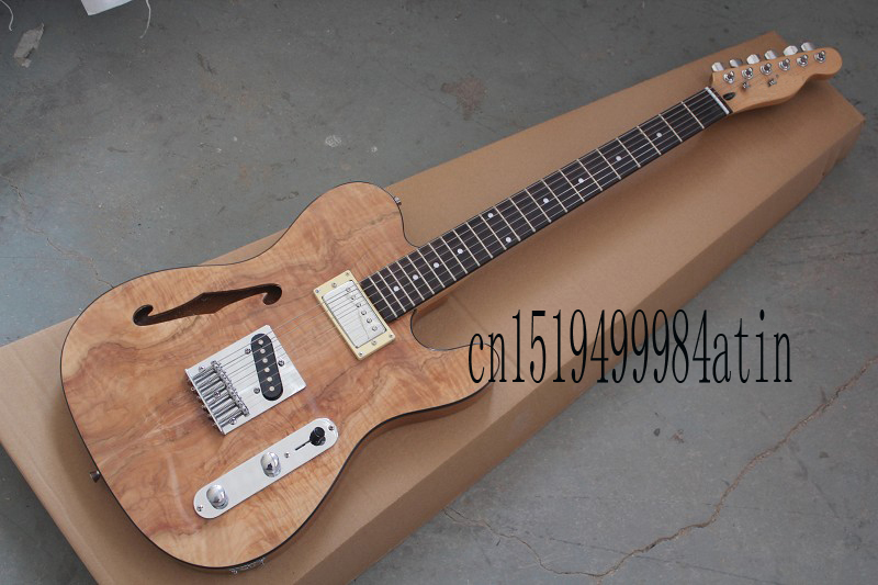 free shipping nature wood f telecaster semi hollow guitar f hole jazz custom shop electric. Black Bedroom Furniture Sets. Home Design Ideas