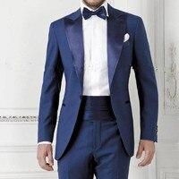 Azul marinho Prom Roupa Do Noivo Smoking Desgaste Noivo terno dos homens ternos dos homens 2017 (Jacket + Pants + gravata borboleta) terno masculino casamento