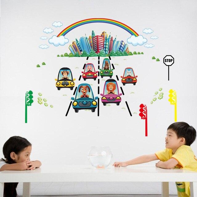Cartoon Wandaufkleber Kinderzimmer Hintergrund Wand Wasserdicht Dekorative  Wandaufkleber Aufkleber Tier Auto