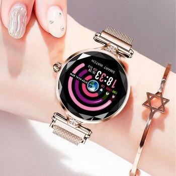 MNWT Luxury Rose Gold Smart Watch Women Smart Bluetooth Electronics Heart Rate Blood Pressure Monitor Fitness Tracker Smartwatch