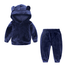 цена Children Clothing set Autumn Kids Boys Girls Clothes Outfits Hooded Costume 3D ear Sport Suit Toddler Girls Clothing Sets в интернет-магазинах