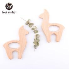 Let's Make 5pc Wooden Teether Alpaca Food Grade Diy Necklace Baby Produ