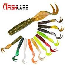 Free shopping 8 pcs/bag curly tail soft bait 7.5m 3.3g forked tail fish bait maggots Plastic Maggot fishing lures Jigkopf Texas