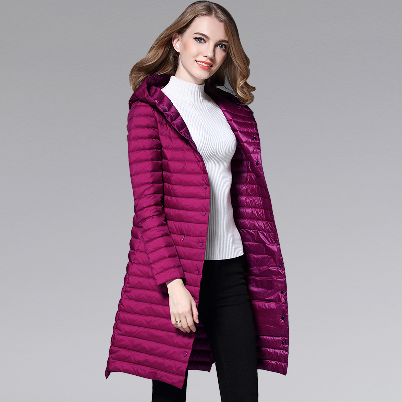 New Autumn Winter Single Breasted Thin Long   Down     Coats   Women Hooded White Duck   Down   Jackets Elegant Slim Windproof Outwear Mw557