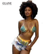 African Print Two-Pieces Bath Suits Bikini Set Sexy Geometric Swimwear Swimsuit Gold High Waist Swimming Suit Biquini