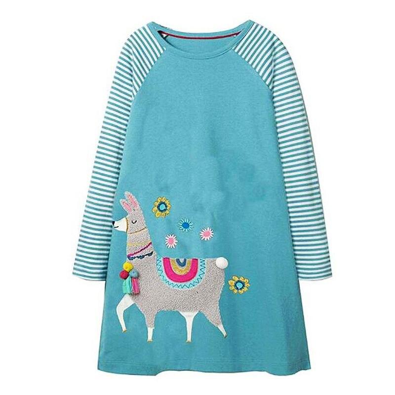 Saltar metros princesa Alpaca vestido bebé niña ropa niños Vestidos de fiesta para Niñas Ropa niños Vestidos vestido de la Navidad
