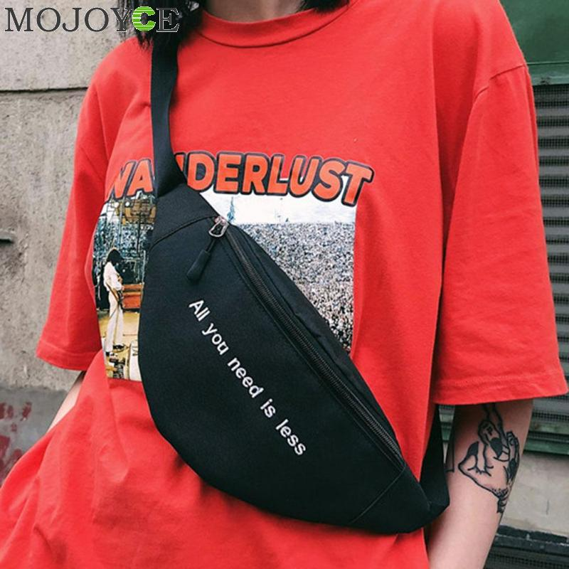 Men Women Canvas Print Letter Harajuku Style Waist Bag Unisex Fanny Pack Chest Packs Money Belt buik tasje Belly Bags Purse Chic letter print knot front top