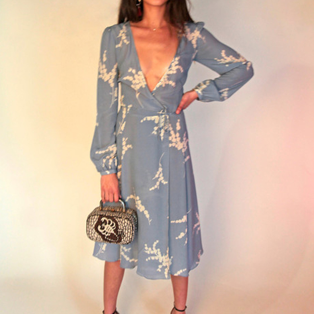 65f4c86ebd Violette - Summer Loving Blue Deep V neckline wrap dress bell sleeves with  covered button closure at the cuff