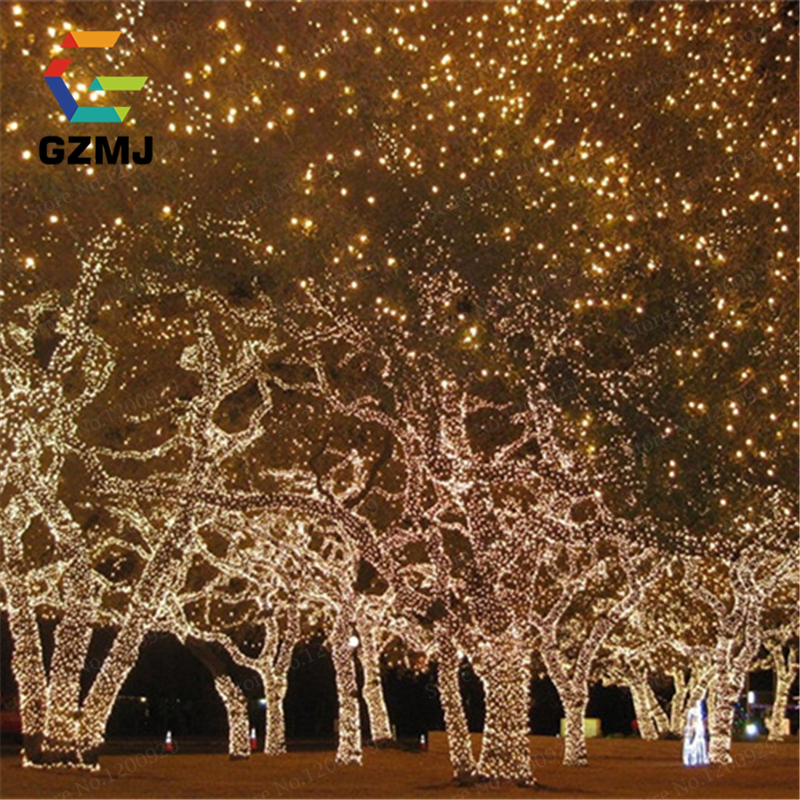 10M 100 LED EU Plug Fairy Lights Holiday Lighting Xmas Holiday Party Outdoor Garden Tree Decoration String Lamp Garland Birthday 2 5 10m 10 38led holiday lights 5cm big balls led light string ac plug rgb warm white xmas garland christmas fairy decoration da