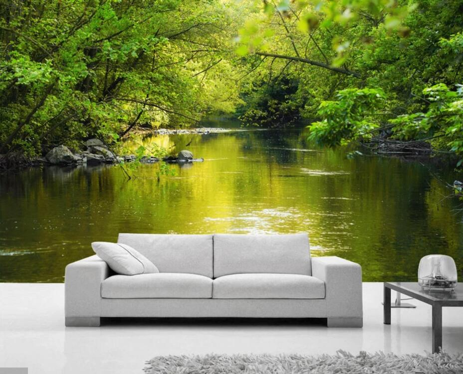 3D Green Forest Ravine Stream Wall Murals For Living Room Landscape Wallpaper Mural Wall Paper Roll 3D Printed Photo Wallpapers