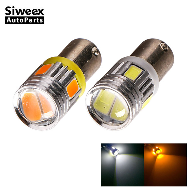 2X BA9S T4W 6-5730 SMD Car LED Dome Festoon Reading Door License Plate Lamp DC 12V White/Yellow(Amber) Lights Led Bulbs
